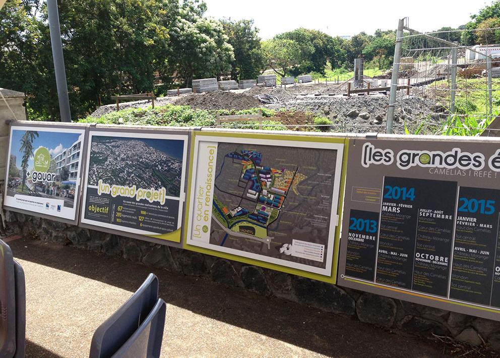 Support de communication Exposition urbaine pour la présentation des projets d'aménagement du quartier des camélias