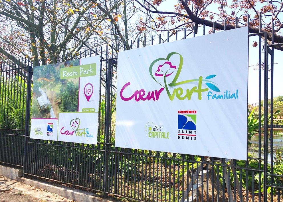 Support de communication Exposition de la mairie de St Denis sur le projet Coeur vert familial