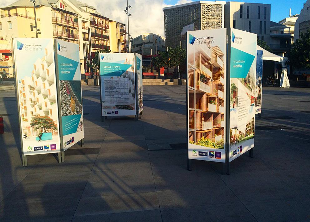 Support de communication extérieur Exposition urbaine en dibond pour présentation du projet pole Ocean de la mairie de st denis
