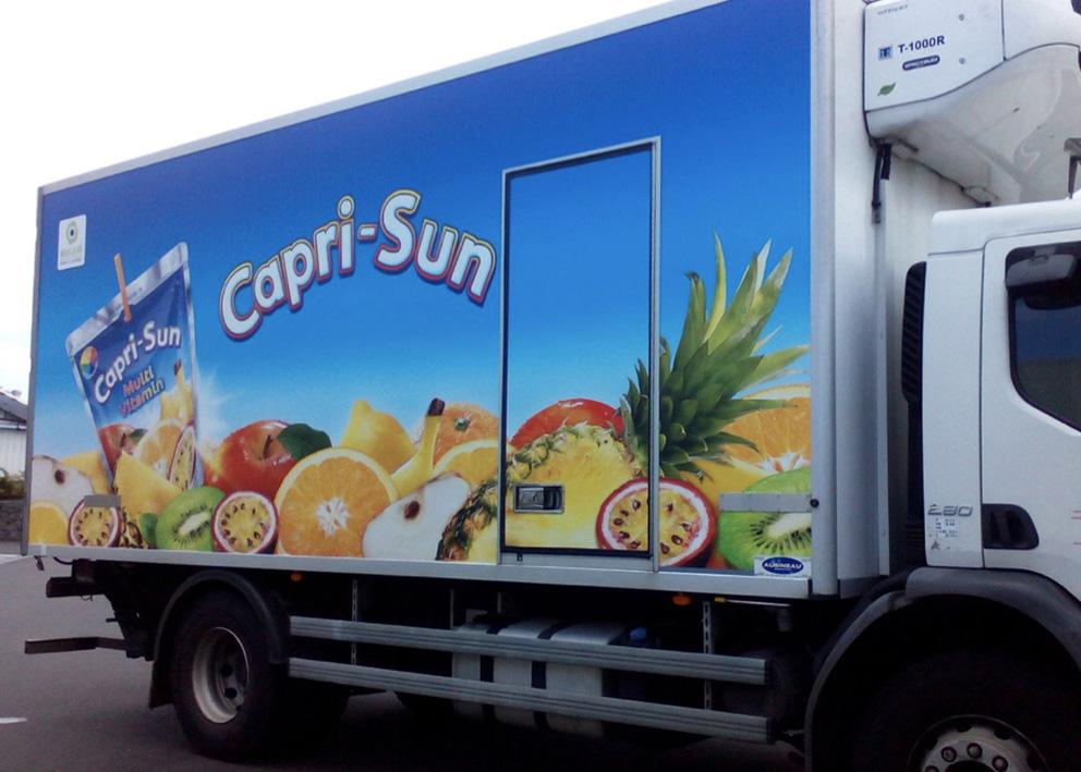 Support de communication Covering adhésif camion cellule de caprisun