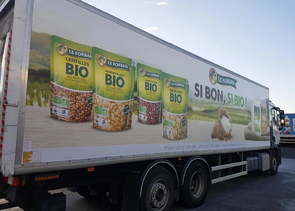 Support de communication Habillage adhésif de camion cellule pour la marque LE FORBAN bio
