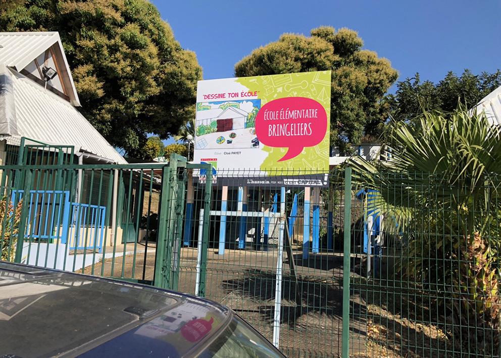 Support de communication Opération de communication en dibond pour les écoles élémentaires de st denis par la mairie
