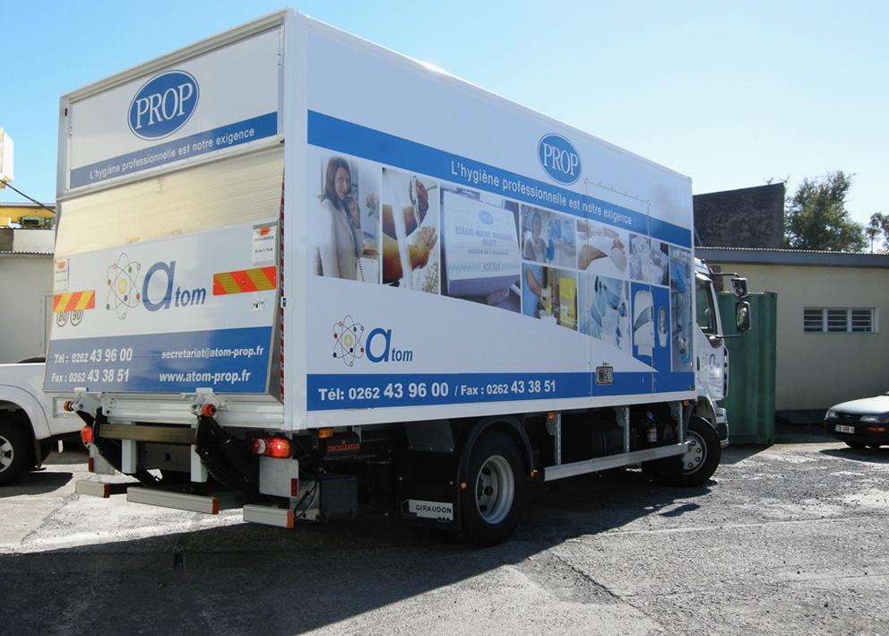 Support de communication Habillage adhésif de camion cellule et hayon