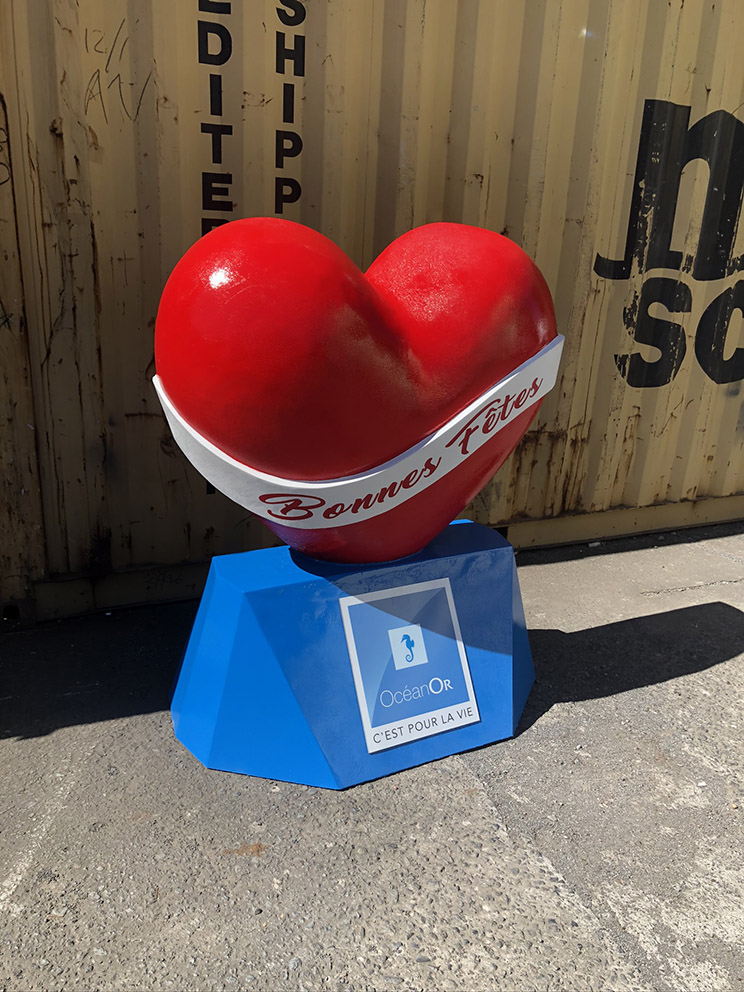 Fete coeur en volume 3D street marketing