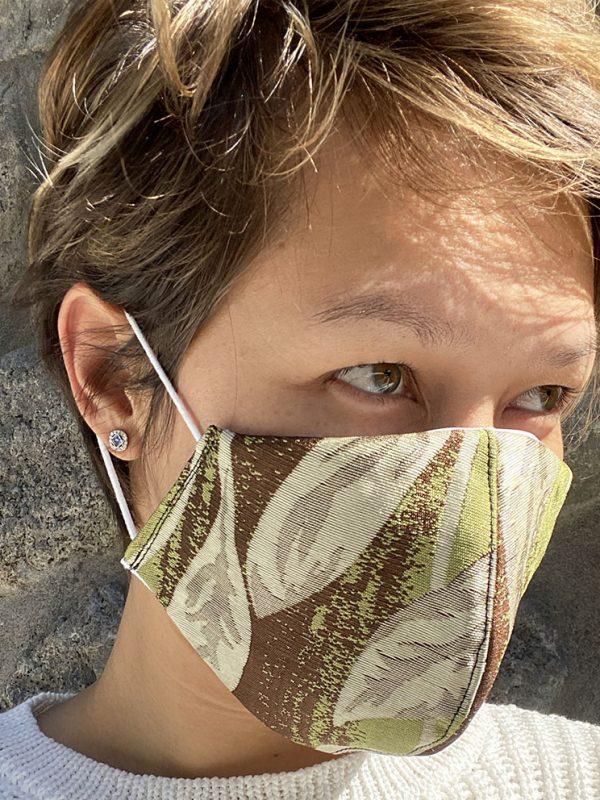 Masque vert texture dorée