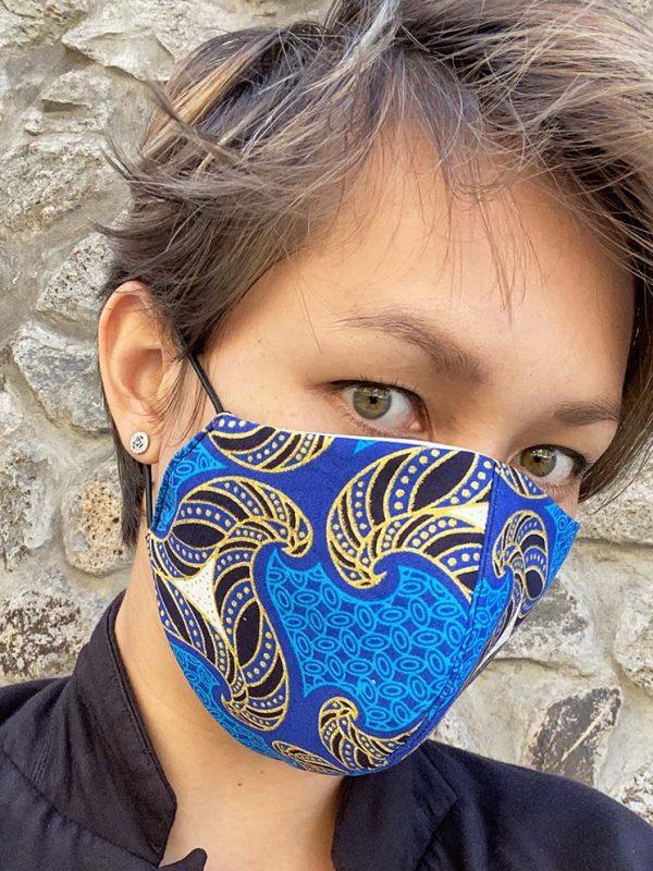 masque bleu doré