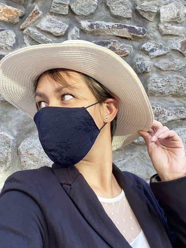masque bleu marine droit et chapeau